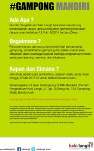 Jika anda adalah para pembaharuan, siapkan waktu anda mulai minggu IV Mei 2015 ini untuk terlibat bersama kami. Serial kegiatan ini akan berlangsung  di Bilik Merdeka ! Rumah Pengetahuan Kaki Langit, Jl. Tgk. Di Blan No. 72A-Gampong Mulia, Banda Aceh. Hubungi Didi Asmadi @bunkdidi Untuk Konfirmasi Kehadiran anda